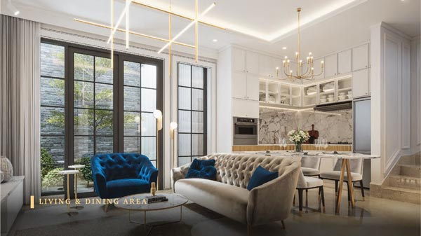 Ruang tamu dengan kombinasi interior yang mewah